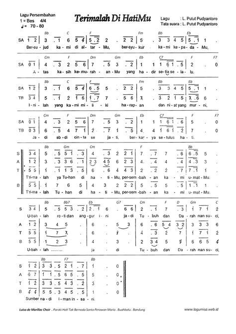 lagu pop partitur lagu pop kumpulan partitur not angka not balok not angka lagu persembahan hati belajar not angka