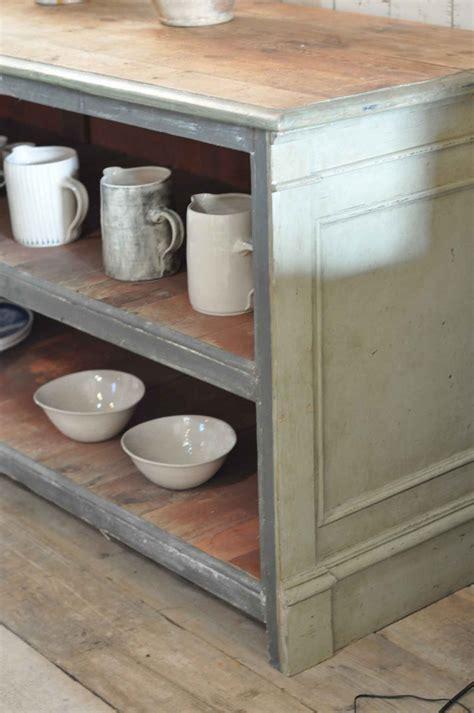 Antique Shop Counter Kitchen Island Open Shelving Unit