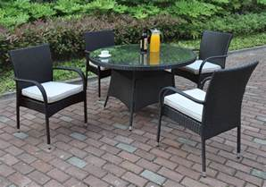 Black Glass Patio Table 5 Pcs Outdoor Patio Dining Set Glass Table Black Pe Resin Wicker Resistant Ebay