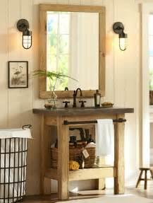 Pottery Barn Sconces Rustikaler Holz Waschtisch Mit Betonplatte Von Pottery Barn
