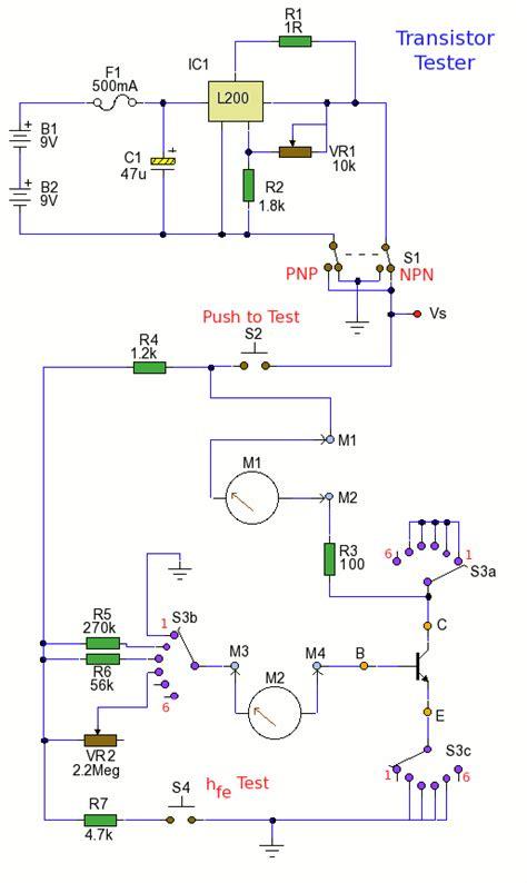 transistor tester circuit how to build transistor tester circuit diagram