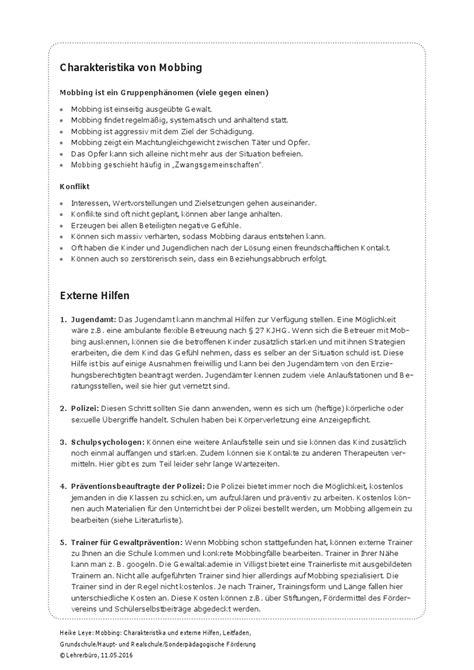 beschwerdebrief mobbing am arbeitsplatz arbeitshilfen 183 grundschule 183 lehrerb 252 ro