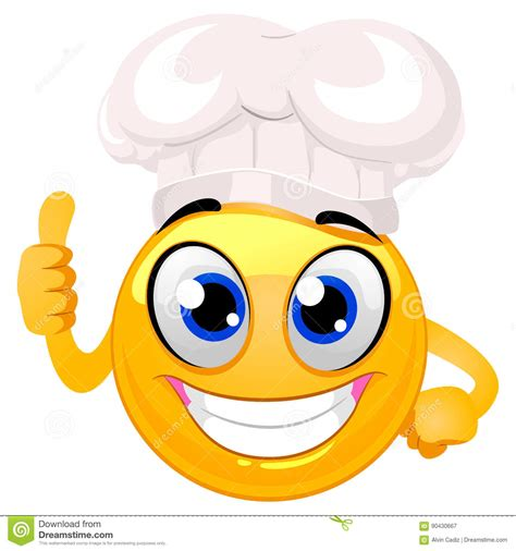 Smile Hat smiley emoticon as chef hat doing ok sign stock