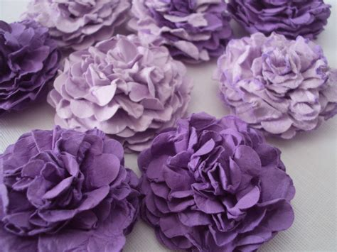 purple carnations paper flowers embellishments by