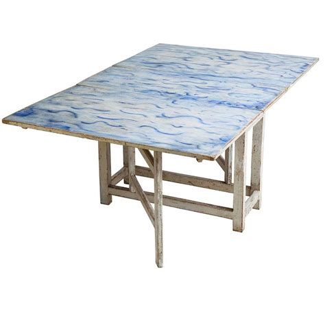 Drop Leaf Table White Swedish Blue And White Original Painted Drop Leaf Table Circa 1820 For Sale At 1stdibs