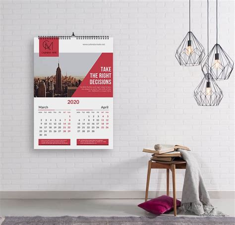 brick creative wall calendar design  template psd file calendarmate