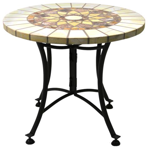 Sunburst Marble Mosaic Accent Table With Metal Base Metal Patio Side Table