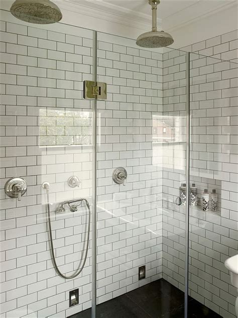 White Grout In Shower by White Subway Tile Gray Grout Rainfall Heads
