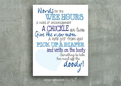 note from baby at baby shower notes baby shower printable blue instant