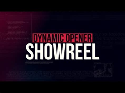 showreel template after effects free download showreel dynamic opener after effects template youtube
