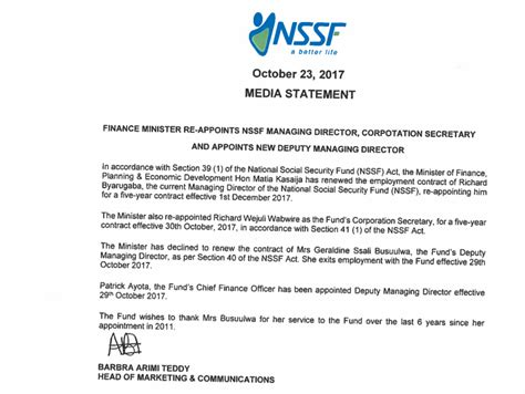 appointment letter uganda richard byarugaba re appointed as nssf md ayota