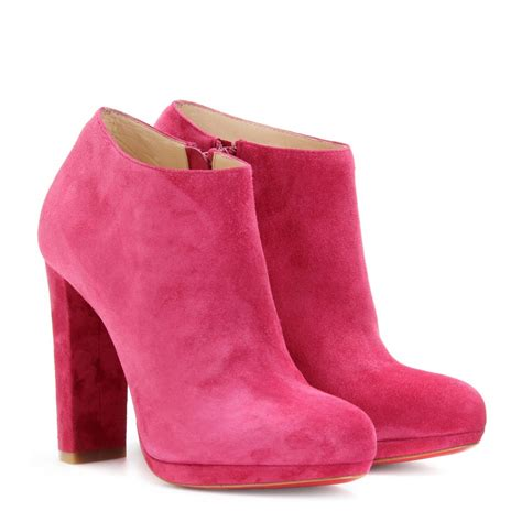 pink ankle boots christian louboutin rock and gold 120 suede platform ankle