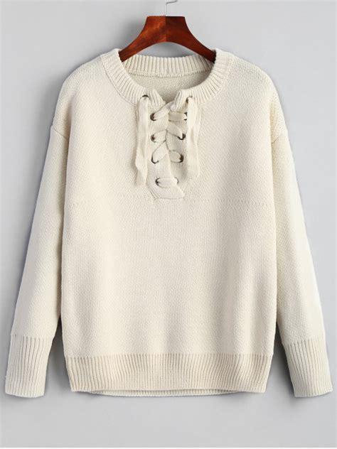 Plain Lace Up Sweater 2019 drop shoulder plain lace up sweater in beige one size