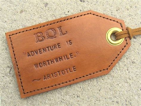 Handmade Luggage Tags - custom favourite quotes leather luggage tag with privacy