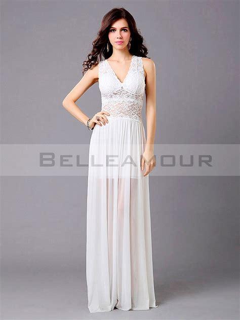 Robe Fluide Mousseline Blanche - robe de soir 233 e blanche longue dentelle mousseline a