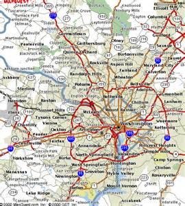 washington dc region map road map of dc metro area