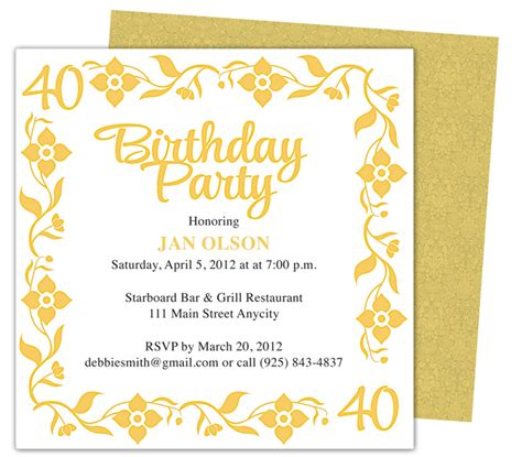 40th birthday invitation templates free 40th invitation template free