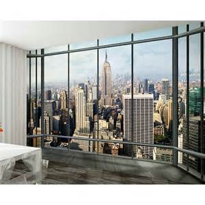 New York Skyline Wall Mural 1 Wall New York Window Skyline Giant Wallpaper Mural W8p