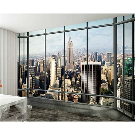 new york wallpaper for bedrooms uk 1 wall new york window skyline giant wallpaper mural w8p