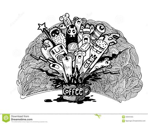 how to doodle in illustrator doodle coffee background illustrator line
