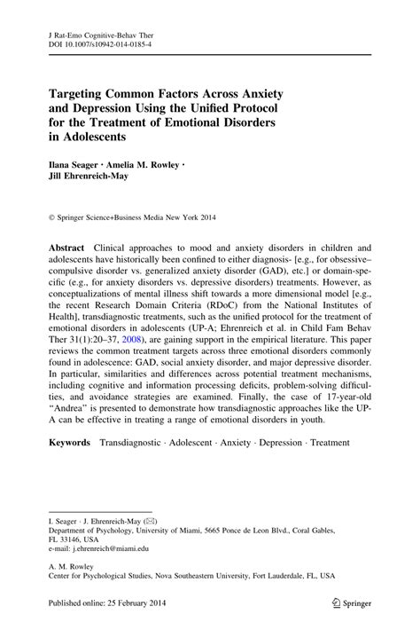 unified protocol for transdiagnostic treatment of emotional disorders therapist guide treatments that work books targeting common factors across anxiety and depression