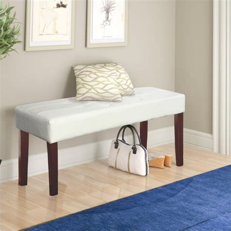 white faux leather bench faux leather bench in white lmy 210 o