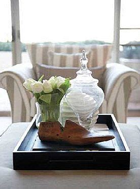 ottoman coffee table trays  styling