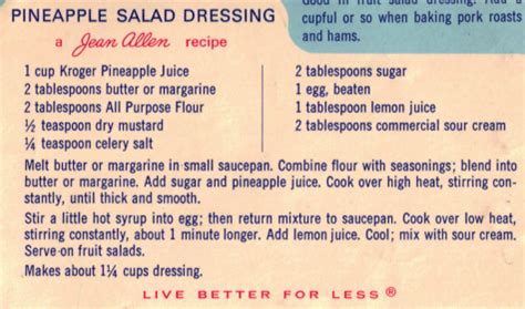 Can You Return A Gift Card To Kroger - pineapple salad dressing recipe clipping 171 recipecurio com