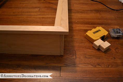 Diy Wooden Bed Frame Diy Stained Wood Raised Platform Bed Frame Part 1