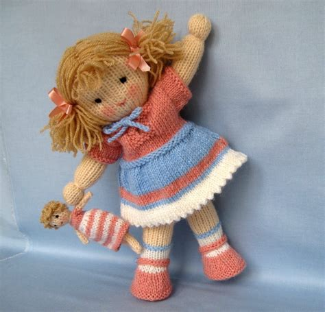 pattern knitting doll lulu and little doll knitting pattern instant download