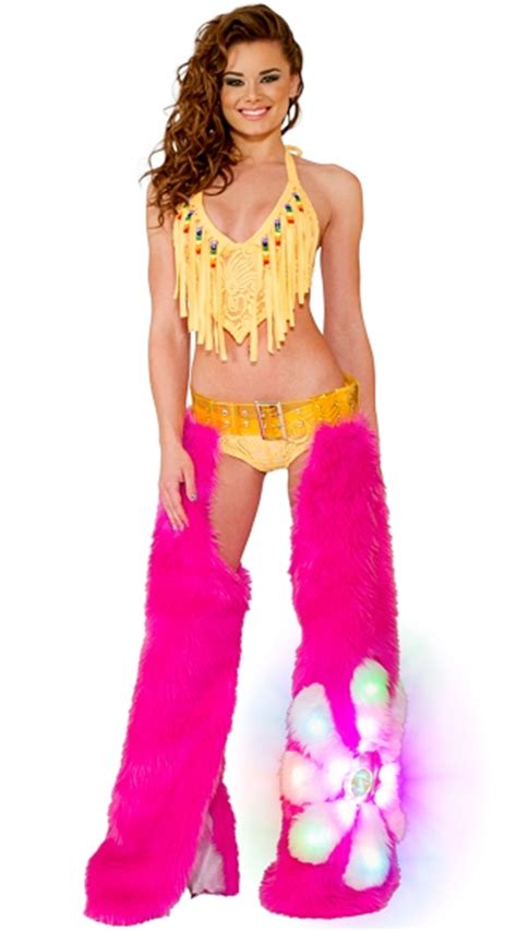 Chaps Pink Flower pink flower power light up chaps set cyclone lace fringe