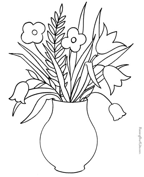 flowers coloring page for kids good for applique