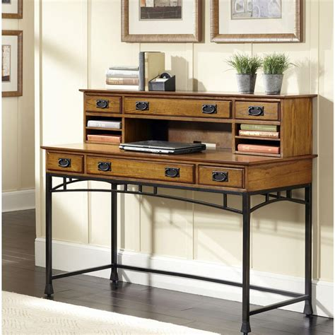 Home Styles Modern Craftsman Distressed Oak And Deep Brown Distressed Desk With Hutch