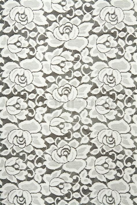 white lace pattern white lace with floral pattern on black background stock
