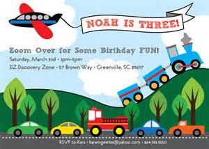 transportation birthday invitation train plane automobiles