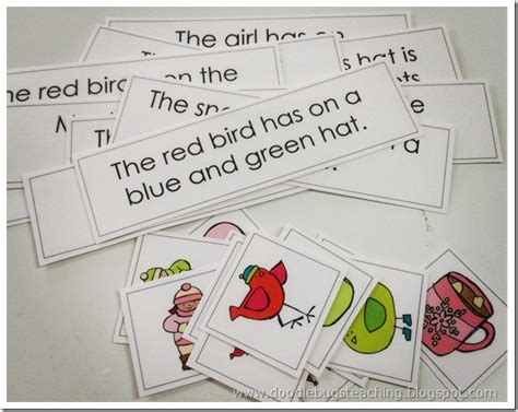 use doodlebug in a sentence match the picture to the sentence fluency sight words