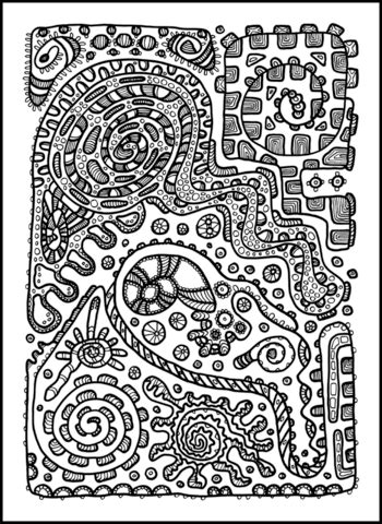psychedelic pattern coloring page  printable
