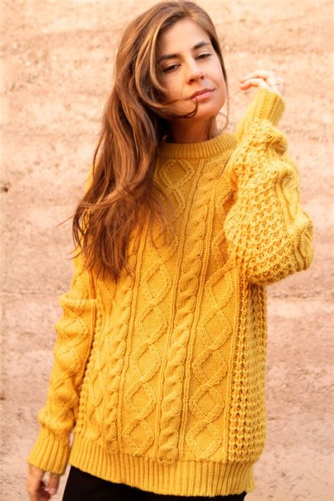 mustard knit sweater mustard yellow cable knit sweater slouchy oversize warm