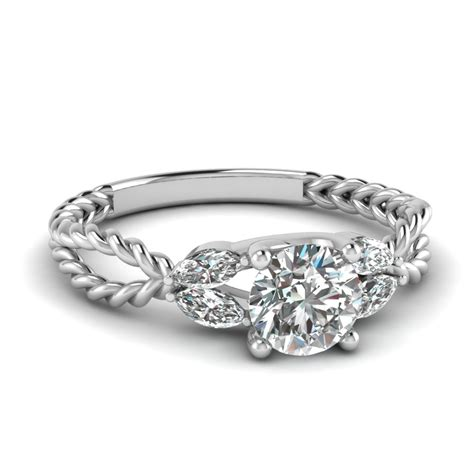 princess cut braided engagement ring in 14k white