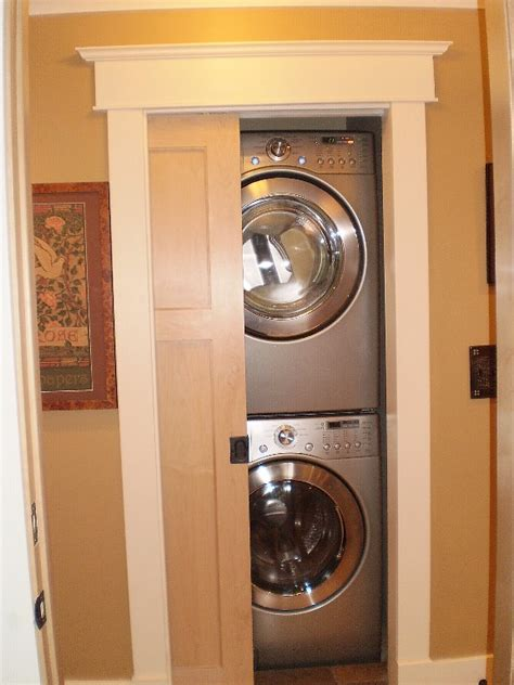 Stacked Laundry With Sliding Door Laundry Pinterest Laundry Closet Door Ideas