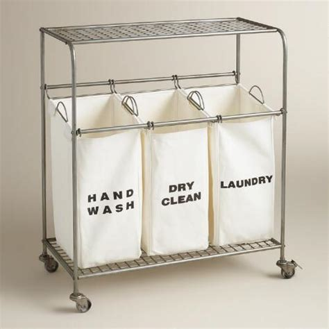 Metal 3 Bag Ashton Laundry Cart World Market 3 Bag Laundry