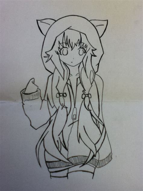 doodle draw anime anime with hoodie and fox ears drawing