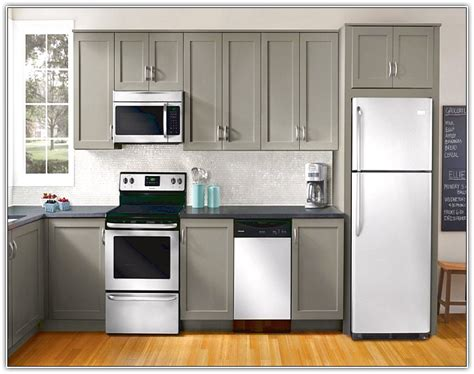 Grey Kitchen Cabinets With White Appliances Grey Kitchen Cabinets White Appliances New Kitchen Style