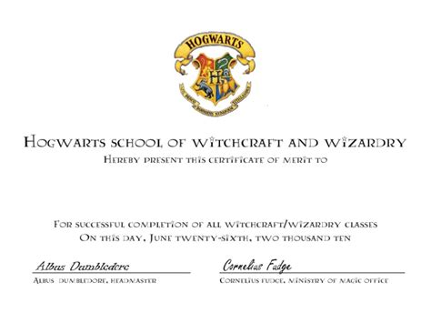 harry potter certificate template hogwarts certificate