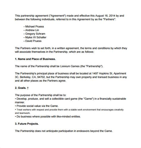 General Agreement Letter Sle General Partnership Agreement Template 28 Images General Partnership Agreement Template