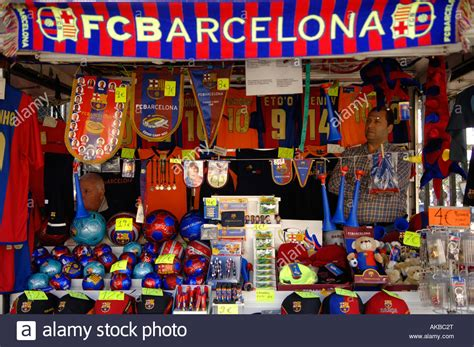 barcelona official store merchandise shop of the fc barcelona stock photo royalty
