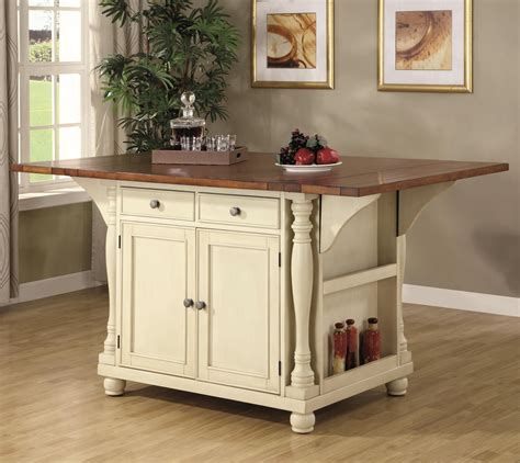 Kitchen Island With Leaf Buy Kitchen Carts Two Tone Kitchen Island With Drop Leaves