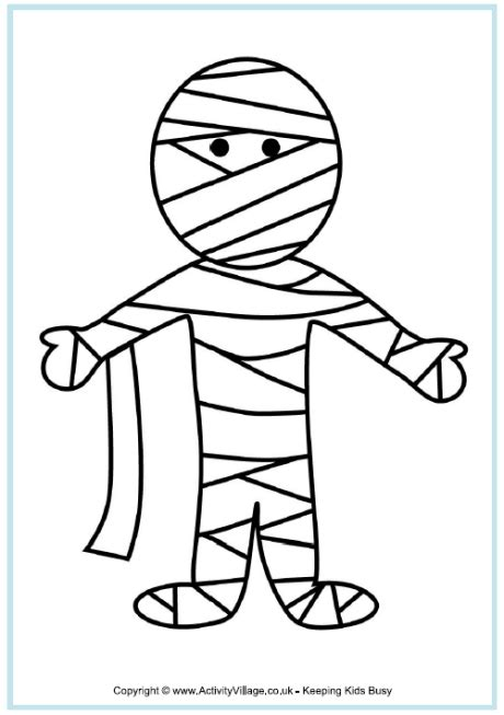 mummy coloring pages halloween mummy colouring page http www activityvillage co uk