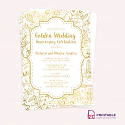 Invitations Templates by Golden Wedding Anniversary Invitation Template Wedding