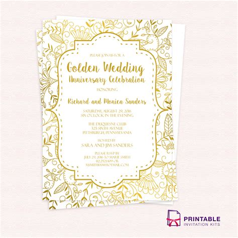 invitation template printable golden wedding anniversary invitation template wedding